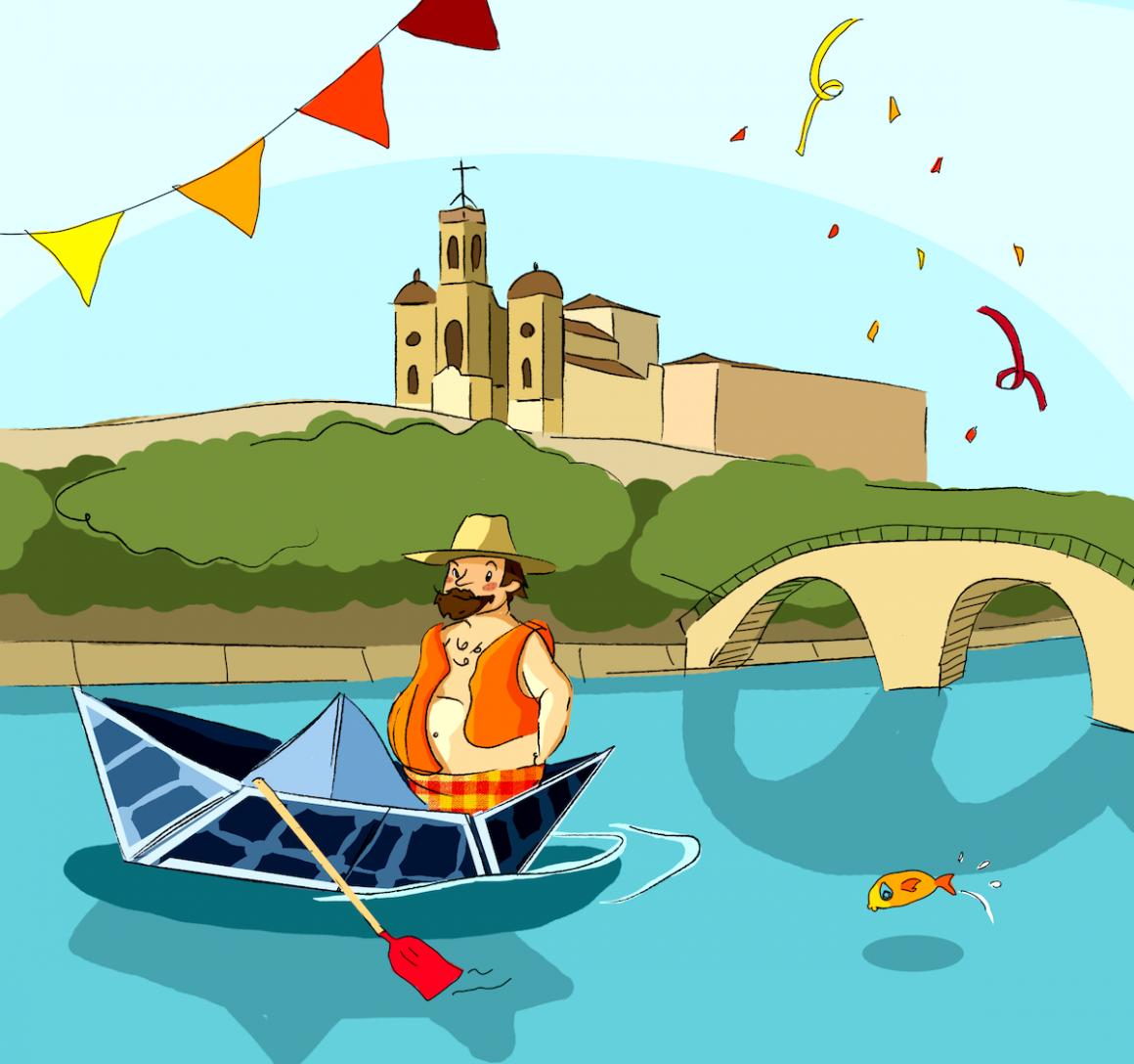 la Trannsegre de Balaguer con una barca solar
